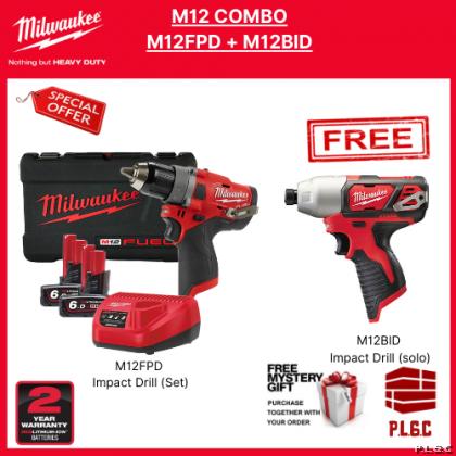 Milwaukee M12 M12FPD602C Brushless Cordless Impact Drill + M12 BID Cordless Impact Driver Combo Set