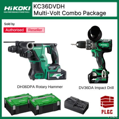 Hikoki  / Hitachi KC36DVDH Multi-Volt Package DH36DPA Brushless SDS-PLUS Rotary Hammer + DV36DA Brushless Impact Driver Drill